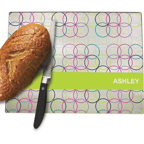 Personalized Circles Cutting Board, Lime Green