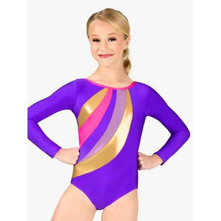 b7391aa46ca5 Girls Gymnastics Spliced Print Long Sleeve Leotard - Walmart.com