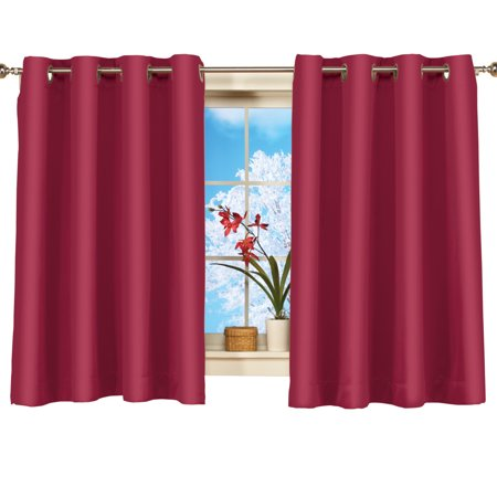 Short Blackout Window Curtain Panel, Energy-Efficient, Noise-Reducing and Light-Blocking Triple-Layer Technology, Grommet Top, 56