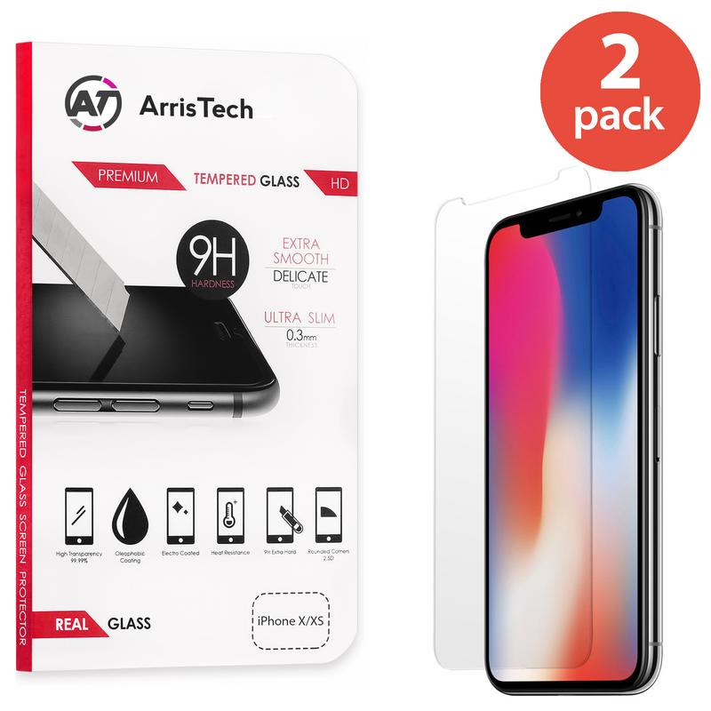 2x IPHONE X XS TEMPERED GLASS SCREEN PROTECTOR FOR APPLE IPHONE X XS BUBBLE FREE HD PROTECTIVE FILM