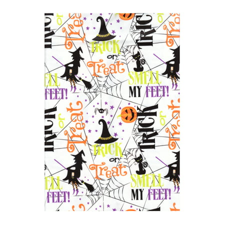 Halloween Vinyl Tablecloth PEVA, Environmentally Friendly, Flannel Backed, 52 x 70 Rectangle -Trick Or Treat Pattern with Witches, Spiders, Black Cats, Pumpkins and more - Rice Krispie Halloween Treats Pumpkin