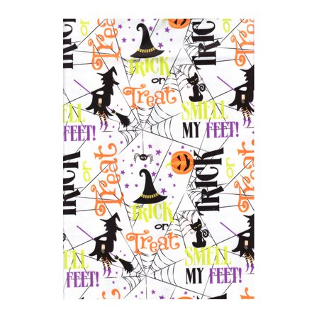 Halloween Vinyl Tablecloth PEVA, Environmentally Friendly, Flannel Backed, 52 x 70 Rectangle -Trick Or Treat Pattern with Witches, Spiders, Black Cats, Pumpkins and more - 100 Pics Halloween 52