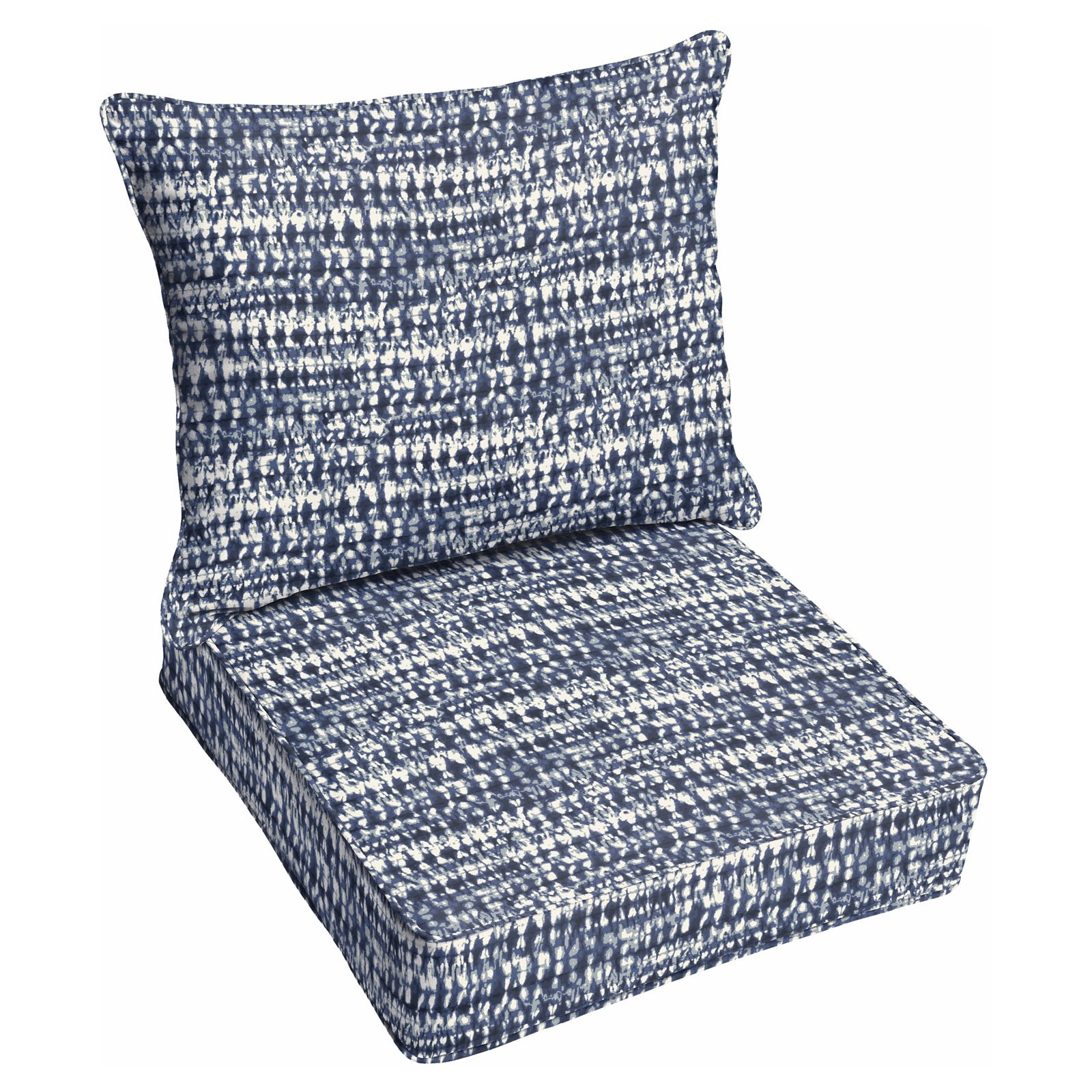 Mozaic Company Outdoor Corded Chair Cushion And Pillow Set Perron Navy