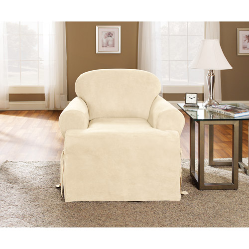 Sure Fit 1pc Soft Suede T-Cushion Chair Slipcover, Cream