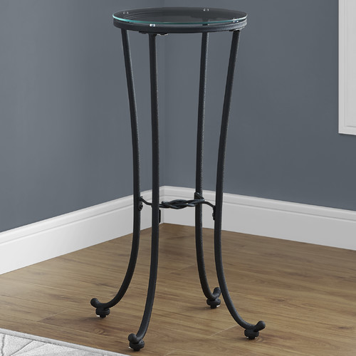 Monarch Accent Table Hammered Black Metal With Tempered Glass
