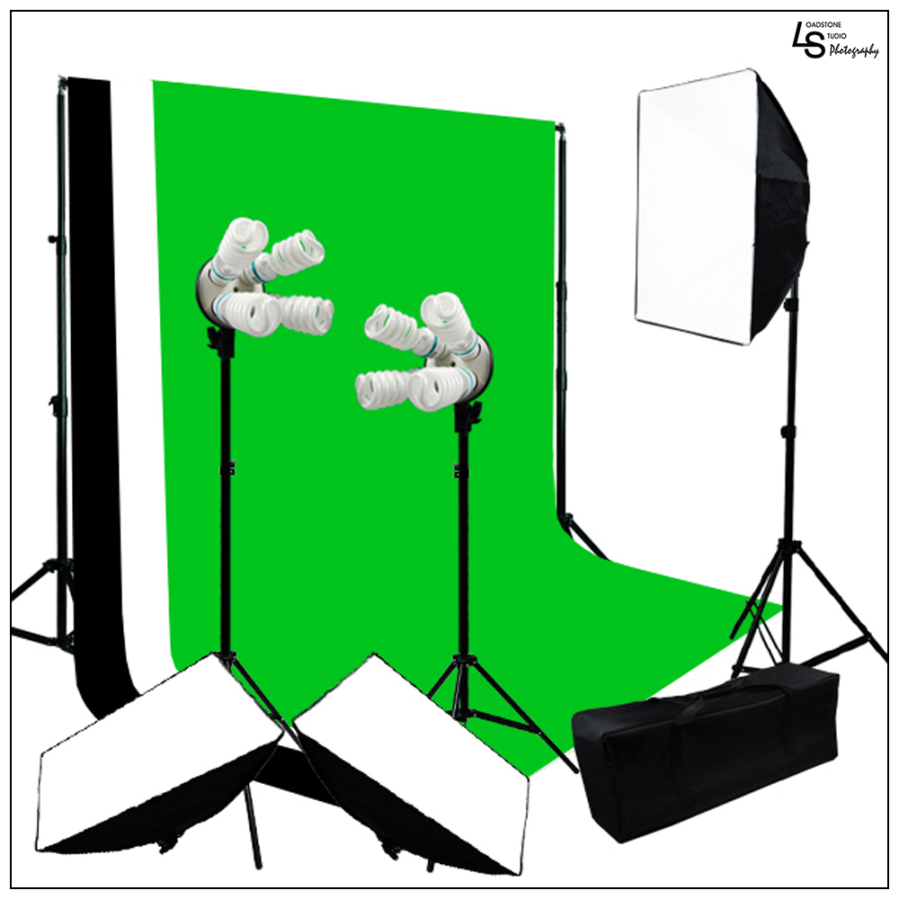 2400W 3x Softbox Photo and Video Lighting Kit with 5 'x 10' Black, White, Green Muslin on Backdrop Support System by Loadstone Studio WMLS0394