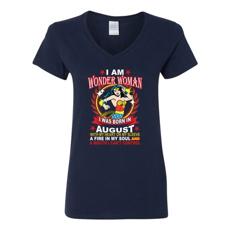 Wonder Woman Born In August Superhero  Womens V Neck T-Shirt Top - Woman Super Hero