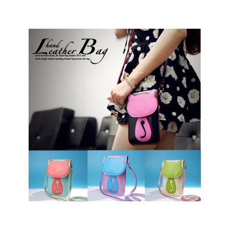 Fashion Lady Shoulder Bag Lovely Cat / Umbrella Phone Wallet Touch Screen Money Bag Outdoor Shopping Crossbody Bags Woman Gift - Pink Beach Bag