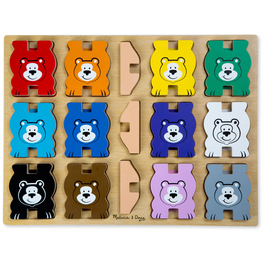 Melissa & Doug Stacking Wooden Chunky Puzzle, Rainbow Bears