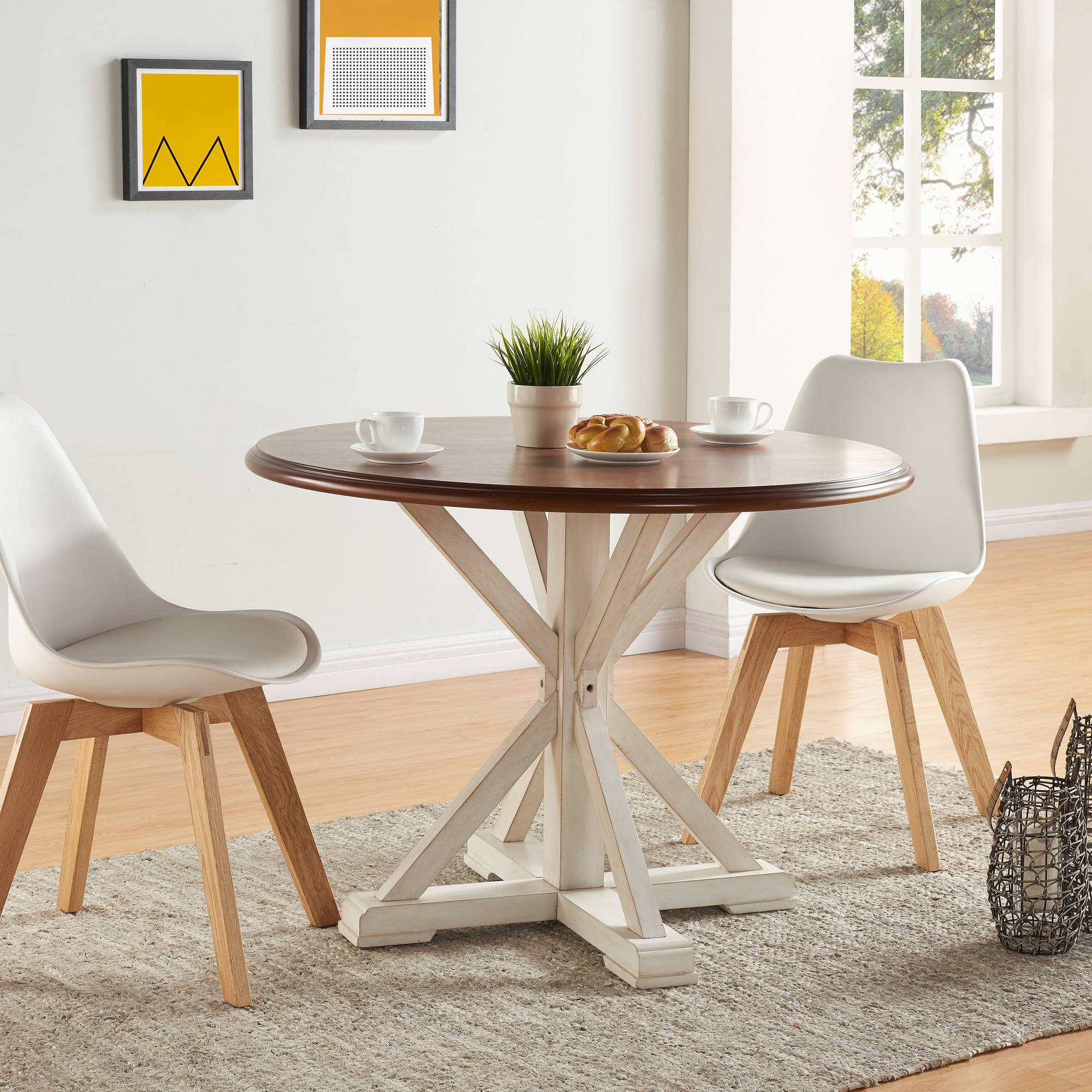 Southern Enterprises Beatha Farmhouse Dining Table, Antique White with Dark Tobacco