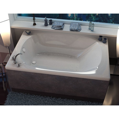 Spa Escapes St. Lucia 77.87'' x 47.5'' Rectangular Air/Whirlpool Jetted Bathtub with Center Drain