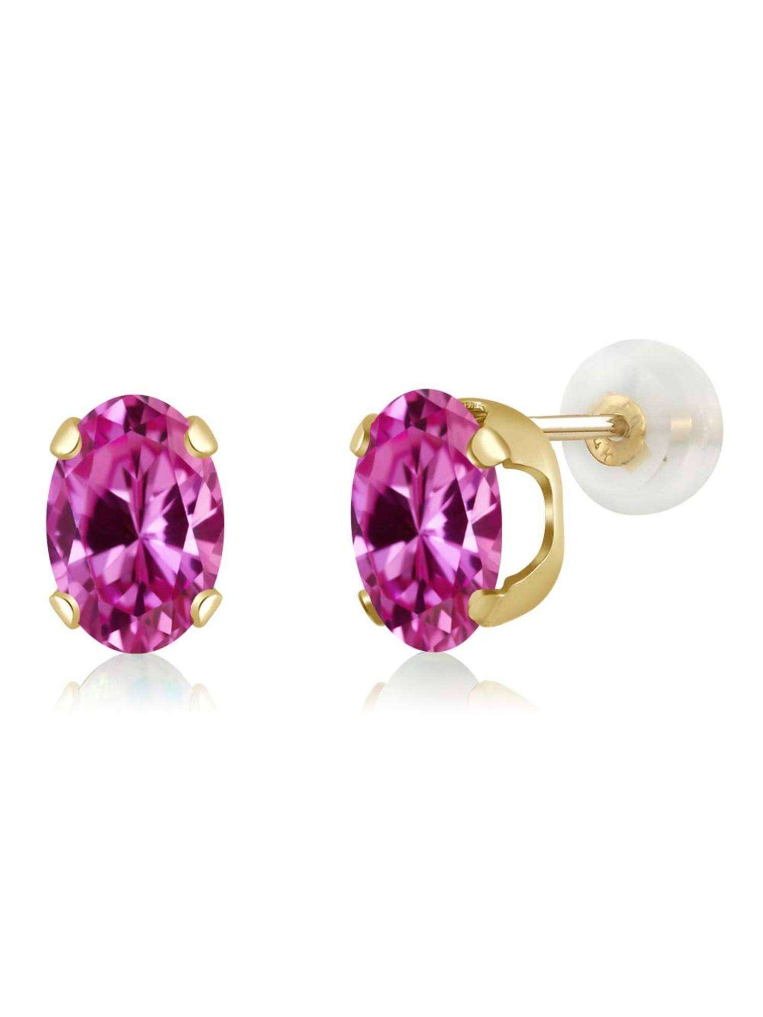 1.80 Ct Oval 7x5mm Pink Created Sapphire 14K Yellow Gold Stud Earrings by