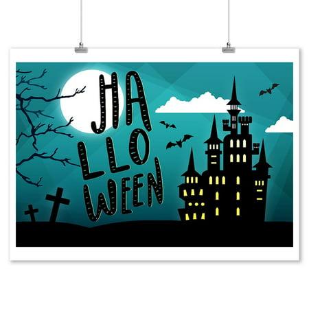 Halloween - Haunted House - Lantern Press Artwork (9x12 Art Print, Wall Decor Travel Poster)