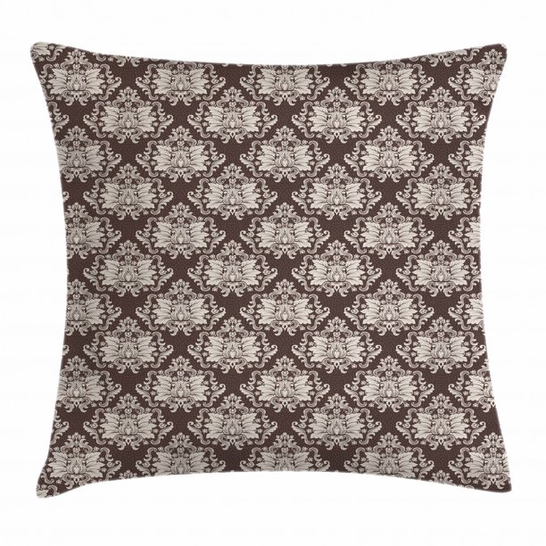 Damask Throw Pillow Cushion Cover Victorian Floral Pattern With Blooming Foliage Leaves On Dark Toned Backdrop Decorative Square Accent Pillow Case 20 X 20 Inches Brown And Beige By Ambesonne Walmart Com