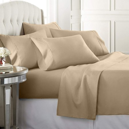 Luxury Home Super Soft 1600 Series Double Brushed 6 Pcs Bed Sheets Set King Beige