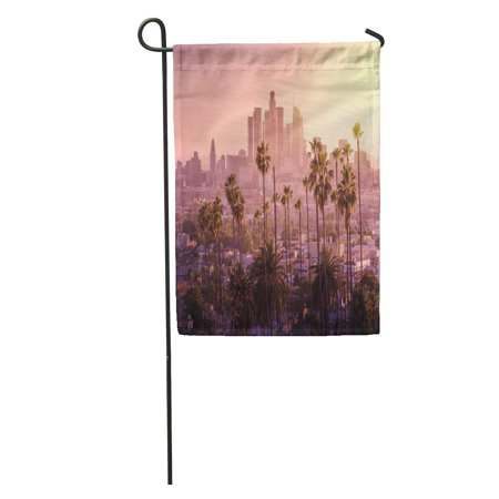 KDAGR Purple California Beautiful Sunset of Los Angeles Downtown Skyline and Palm Trees in Foreground Orange Garden Flag Decorative Flag House Banner 28x40 inch ()