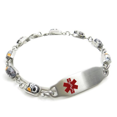 MyIDDr - Engraved Multiple Sclerosis MS Bracelet, Black/White Flower Pattern](Ms Bracelets)