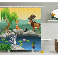 Cartoon Shower Curtain, Funny Mascots Animals by the Lake Moose Fox Squirrel Raccoon Kids Nursery Theme, Fabric Bathroom Set with Hooks, Multicolor, by Ambesonne