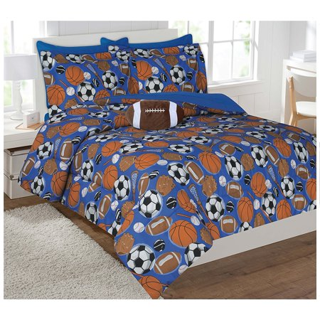 Fancy Collection 6pc Kids / teens Boys Sports Football Basketball Baseball Socer Design Luxury Bed-in-a-bag Comforter Set- Furry Buddy Included - Twin Size ()