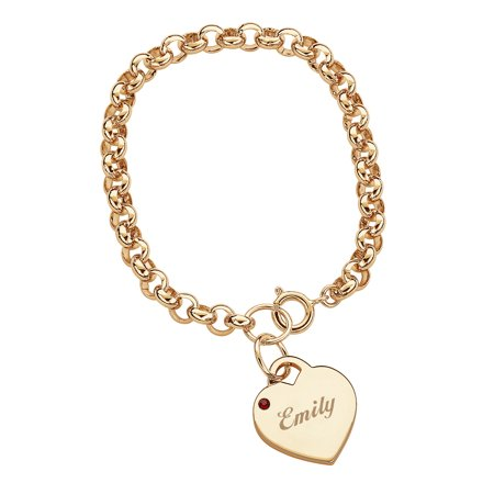 Personalized 14kt Gold-Plated Name & Birthstone Heart Charm (Nana Personalized Bracelet)