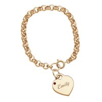 Personalized 14kt Gold-Plated Name & Birthstone Heart Charm Bracelet