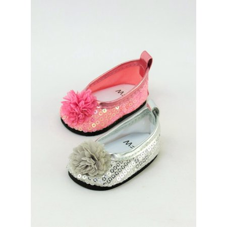 2 Pack of Sequin Flats with Flower: Silver and Pink | Fits 18