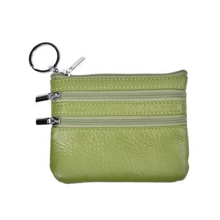 10d5de206c6 Womens Mini Coin Purse Wallet Genuine Leather Zipper Coin Pouch with Key  Ring for Women (green)