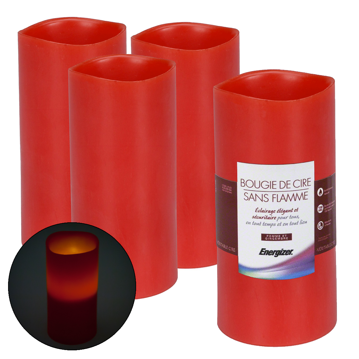 4 energizer led flameless wax candle timer flicker pillar ginger apple scented walmartcom - Flameless Candles With Timer
