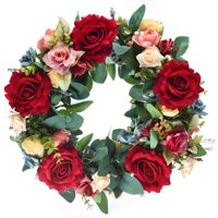 "15"" Rose Wreath Silk Spring Front Door Wreath,Handcrafted on a Grapevine Wreath Base- Display in Spring, Easter, Mother's Day, Summer, Home and Kitchen"