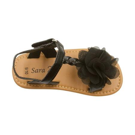 Sara Z Toddler Girls Metallic Braided Strap Metallic Flat Sandal with Chiffon Flower 5/6 Black