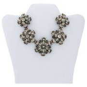 """Gold-Tone Crystal Flower Statement Necklace, 18"""" with 3"""" Extender"""