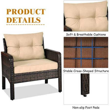 Costway 3PCS Outdoor Rattan Conversation Set Patio Garden Furniture Cushioned Sofa Chair - image 4 of 10