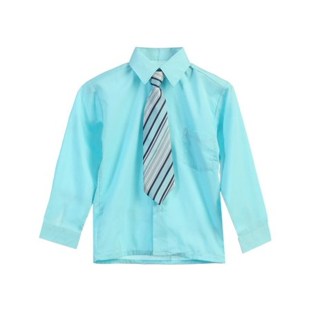 Little Boys Aqua Stripe Tie Long Sleeve Button Special Occasion Dress Shirt 2T-7