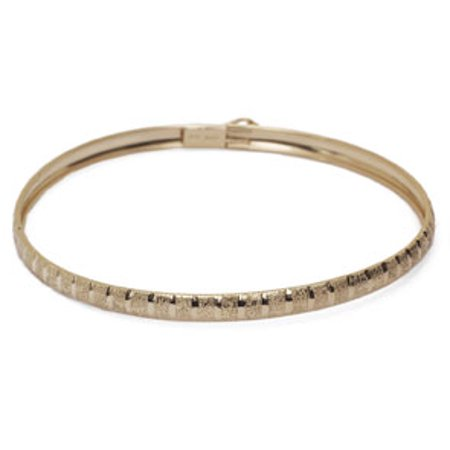 10K Yellow Gold Flexible Bangle Bracelet With Brush Design 8 Inches