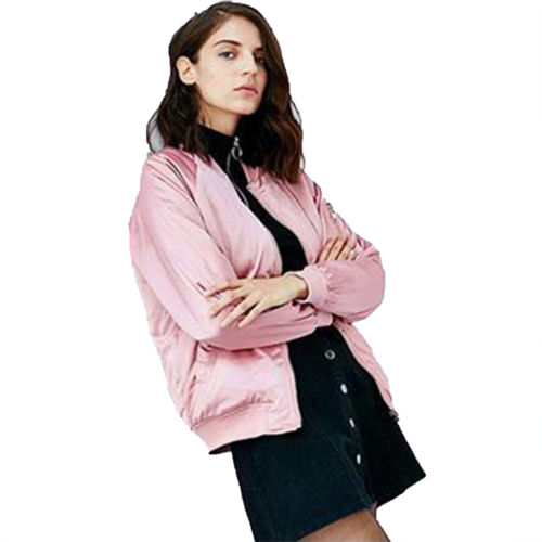 Womens Satin Bomber Jacket Vintage Coat Flight Army Biker Retro Zip Up Outwear Collarless Tops