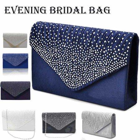 Women 6 Colors Evening Envelope Handbag Party Bridal Rhinestone Clutch Purse Shoulder Cross Body Bag Evening Clutch Handbag Shoulder Bag