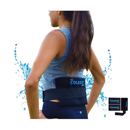 The Coldest Ice Pack 2 Flexible Gel Ice Pack and 1 Wrap with Elastic Velcro Strap Only for Cold Therapy, 11-Inch-by-5.9-Inch