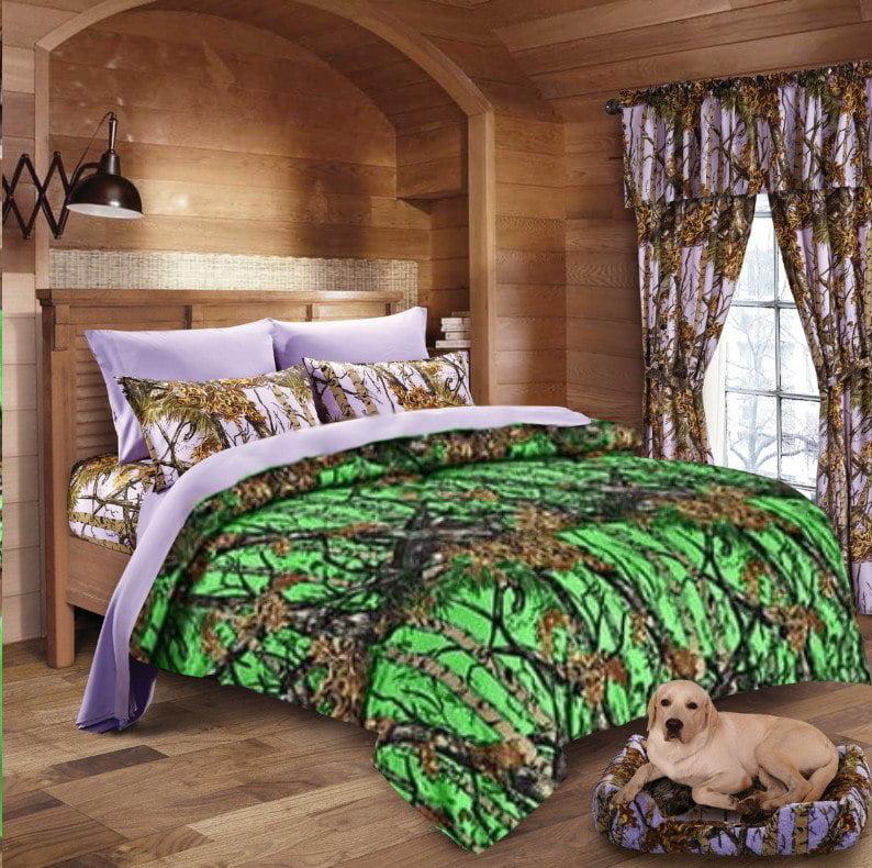 Bio Green Camo Comforter and Lavender Camo Sheet Set [Color: Purple /,Size: Cal King
