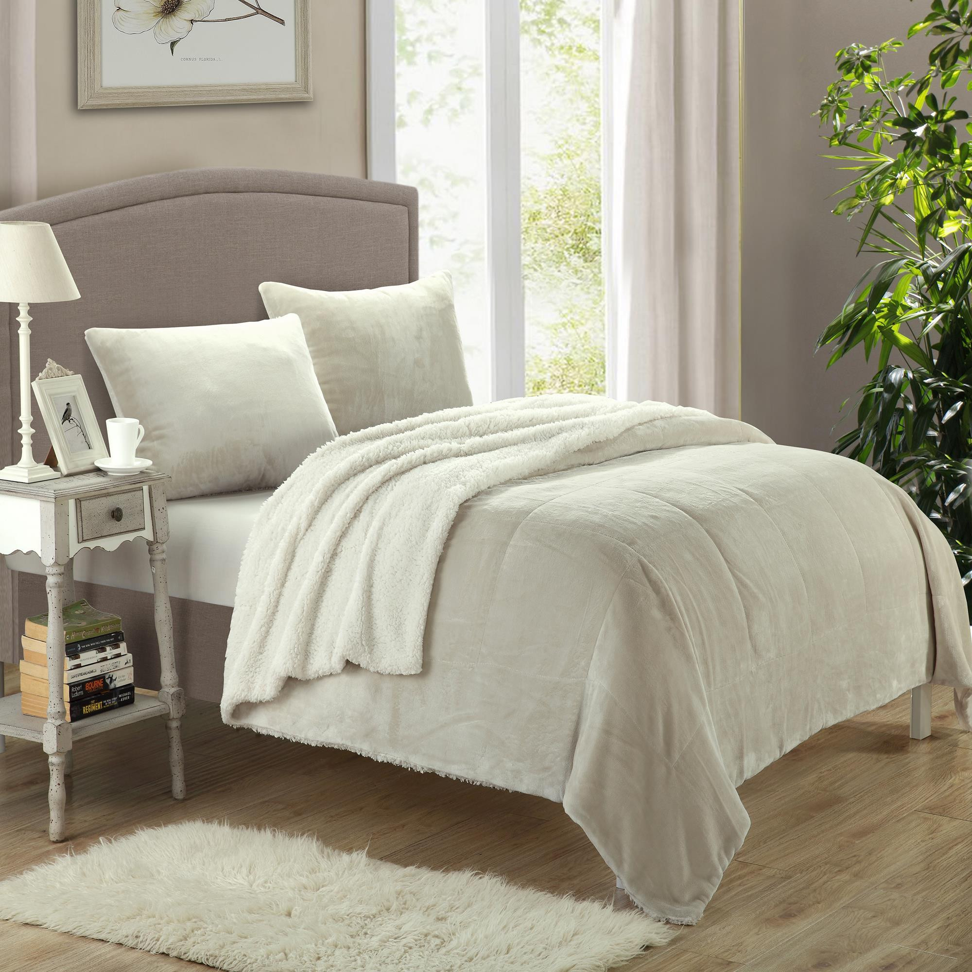 Evie Plush Microsuede Sherpa Lined Beige 7 Piece Blanket In A Bag Set