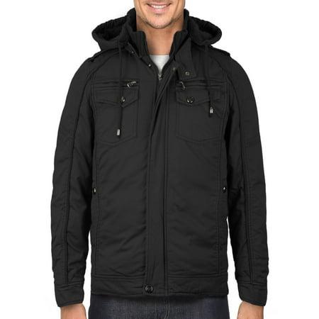 Maximos Men's Premium Hooded Multi Pocket Sherpa Lined Bomber Jacket Sahara-01 (Black,S)