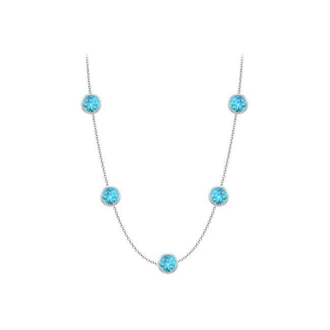 Fine Jewelry Vault UBYBT510014W36 One Yard Long Necklace in 14K White Gold Five Created Blue Topaz with One Carat TGW by Fine Jewelry Vault