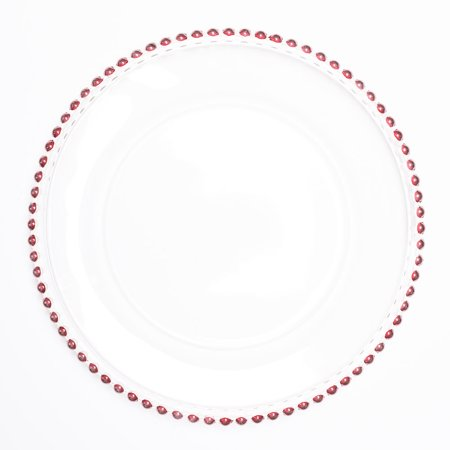 """Richland 13"""" Red Beaded Glass Charger Plate"""