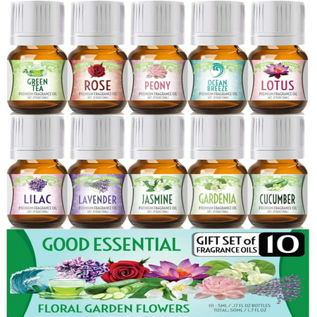 Floral Ocean Gardens Good Essential Fragrance Oil Set (PACK OF 10) 5ml Set Includes Lavender, Rose, Jasmine, Lilac, Lotus, Peony, Gardenia, Green Tea, Cucumber, and Ocean Breeze Scented Oils Rose Petal Fragrance Oil
