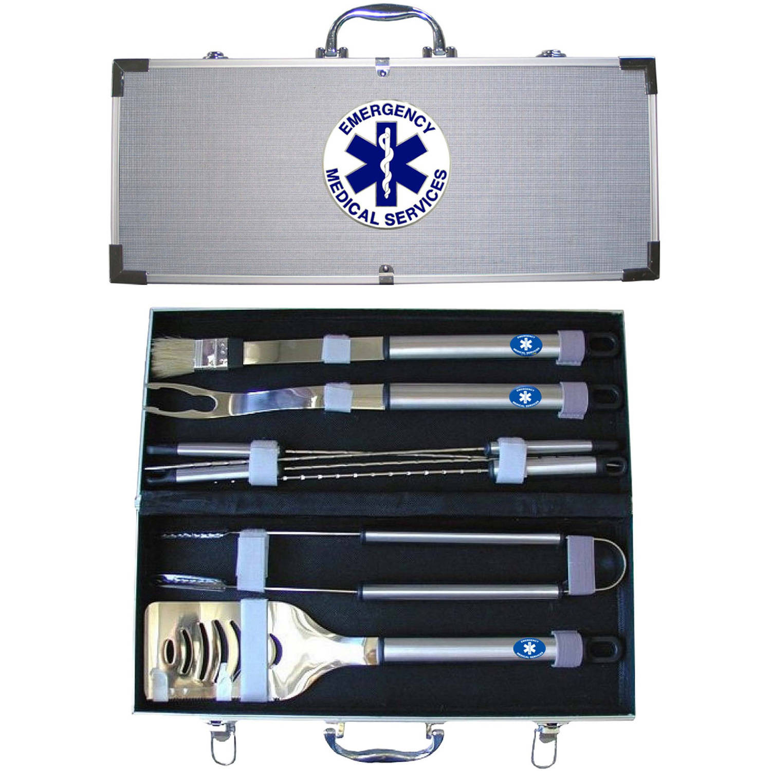 American Heroes 8-Piece BBQ Set with Hard Case, EMS