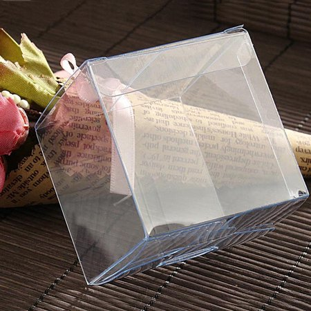 Clear Square Plastic Boxes for Wedding Party Gift Favor Size:25PCS