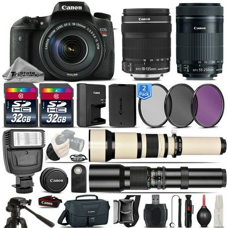 canon eos rebel dslr t6s camera 18 135mm is stm 55 250mm stm lens 64gb kit. Black Bedroom Furniture Sets. Home Design Ideas