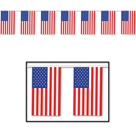 Club Pack of 12 Patriotic Outdoor American Flag Banner Hanging Party Decorations 60' - Party Of America