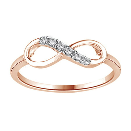 White Natural Diamond Accent Infinity Ring In 14k Rose Gold Over Sterling Silver (0.05 Cttw)