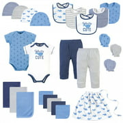 Hudson Baby Infant Boy Layette Start Set Baby Shower Gift 25pc, Blue Whale, 0-6 Months