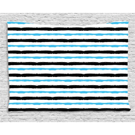 Abstract Tapestry, Paintbrush Large Color Bands Simplistic Horizontal Lines  Stripes Artistic, Wall Hanging for Bedroom Living Room Dorm Decor, 60W X